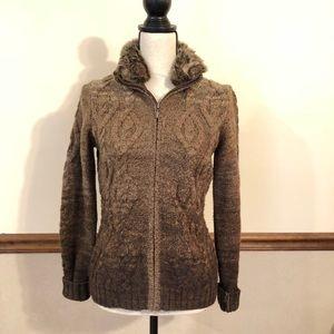EDDIE BAUER lambs wool fur collar cardigan sweater
